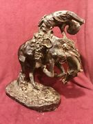 Early Frederic Remington The Rattlesnake Bronze Sculpture Signed 19