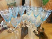 12 Pc Azure Blue Fostoria 5098 6 Versailles Water And 6 After Dinner Wine Goblets