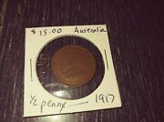 1922 And 1917 Australian Half-penny Used Coins