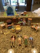 26 Pc Lot Fisher Price Loving Family Dolls Furniture Kitchen Tent Dogs Food Mom