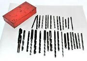 Vintage Collection Of 32 Drill Bits In Indestro Mfg Co Red Metal Box