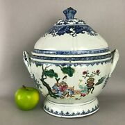 A Large Chinese Qianlong Period 1735-1796 Famille Rose Figural Tureen