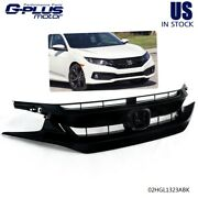 Front Bumper Grille Mesh Fit For 2019 2020 Honda Civic Sedan Coupe Glossy Black