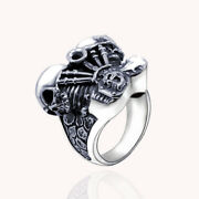 Menand039s Punk Huge Real Solid 925 Sterling Silver Rings Skulls Size 9 10 11