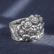 Men's Real Solid 999 Sterling Silver Rings Jewelry Lion Animal Open Size 10-12