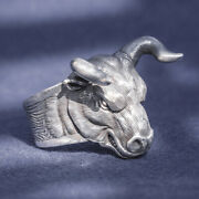 Menand039s Womenand039s Real Solid 999 Sterling Silver Rings Bull Animal Open Size 8-11