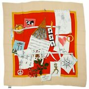 Vintage Moschino Silk Scarf Square Good Old Times Collage