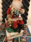1950/60's Battery And Coin Operated Piggy Bank Santa Claus Toy W/ Box Vintage