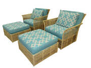 1676-101 Pair Of 2 Boho Chic Twisted Raffia Lounge Chairs And Ottomans