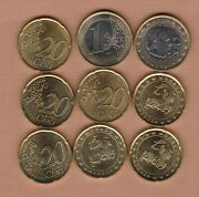 Nine Monaco 2002 Twenty Euro Cents And One Euro Coins In A Bright Mint Condition