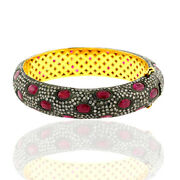 27.85ct Natural Ruby Bangle 14k Gold 925 Sterling Silver Diamond Jewelry