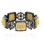 58.05ct Natural Diamond Bangle 18k Gold 925 Sterling Silver Ruby Jewelry