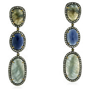 45.54ct Sapphire And Diamond Dangle Earrings 18k Gold 925 Silver Jewelry Gift