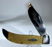 Prototype Case Classic Gold Stone Celluloid Knife W/box And Coa Wow Look