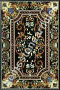 59x35 Marble Black Decorative Marquetry Dining Table Top Decor Gift For Her