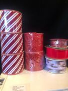 8 Rolls Spools Christmas Ribbon Candy Cane Tinsel Peppermint Sequins Red New