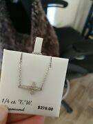 Sterling Silver Natural Diamond Cross Side Ways Pendant Ladies Necklace 18l