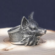 Menand039s Real Solid 999 Sterling Silver Rings Fox Head Animal Open Size 8-11