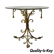 Italian Hollywood Regency Gold Gilt Iron Rope And Tassel Glass Top Center Table