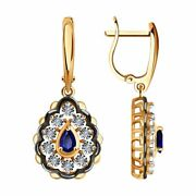 Sokolov Earrings In 585 Combined Gold With Diamonds And Sapphires