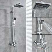 Bathroom Thermostatic Mixer Shower Set Square Chrome Exposed Valve Twin Head