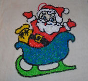 Melted Plastic Popcorn Christmas Santa Face-in Sleigh-small-11 By 13 Inch