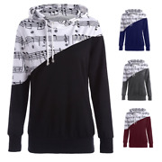 Womens Music Notes Long Sleeve Pullover Hoodies Sweatshirt Jumper Coat Tank Tops
