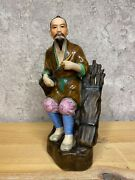 Old China Porcelain Figurine Old Man With Pipe Brushwood Woodcutter Jingdezhen