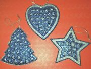 Lot Of 3 Christmas Tree Ornaments - Blue And Silver W/sparkle Heart Star Tree