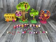 Lalaloopsy Mini Doll Lot With Treehouse, Ferris Wheel, Accessories, Dolls And Bus