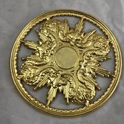 Halo Perforated Wood 5 7/8in Holy Jesus And039 Art Holy Statue Devotional Gold