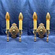 Pair Of Quality Antique Yellow Brass Double Candle Wall Sconces Nos 102d