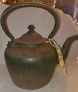 Rare Antique Cast Iron Kenrick Tea Kettle - 125+ Years Old- Great Quality And Cond