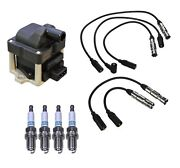 Denso Ignition Coil And Wire Set 4 Iridium Long Life Spark Plug Kit For Vw 2.0l L4
