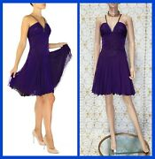 Vintage Versace Purple Crystal Embellished Dress With Chain Mail Straps 40 - 4