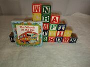 Vintage 26 Wooden Picture Alphabet Blocks Letter Numbers Wood Learning Abc Kids