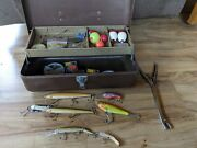 Vintage Simonsen Chicago Metal Fishing Box With Vintage Lures And Tackle