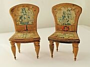 2 Antique Bliss Abc Paper Litho On Wood Dollhouse Chairs