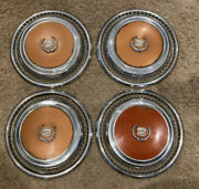Read Descr 1970andrsquos Cadillac Eldorado Hubcap Brown / Orange Caddy 15andrdquo Hub Vintage