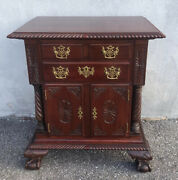 Antique Carved Mahogany Feldenkreis End Table Nightstand 32andrdquo X 28andrdquo X 18andrdquo