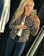 Zara Tweed Textured Weave Knit Jacket Red White Gold Trim Size Small S New