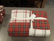 5pc Pottery Barn Easton Plaid Reversible Queen Comforter Patchwork Quilt Holiday