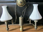 Antique Brass Kosmos Brenner Hanging Pull Down Library Oil Lamp Electrified