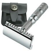 Merkur Travel Safety Razor W/bar Guard And Leather Pouch 210