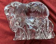 Lenox Crystal Elephant Figurine Nurturing The Young Mother, 2 Babies. 7x6