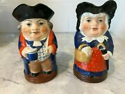 Vintage Pair Royal Worcester Porcelain Squire And Country Lady Toby Pitchers Jugs