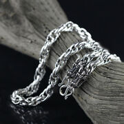 Real Solid 925 Sterling Silver Necklaces Dragon Braided Vintage Hook 20 22and039and039
