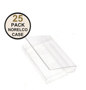 New- 25 Pack Norelco Cassette Case / Clear Jewel Audio Cassette Case