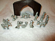 Spoontiquespewter13 Piece Nativity Set And Wood Stable Creche1982
