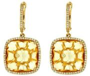 Large 20.42ct Diamond And Aaa Citrine 14k Yellow Gold Square Halo Hanging Earrings